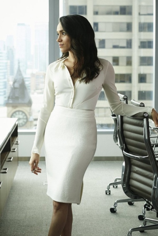Rachel-Zane-Suits-White-Blouse-Pencil-Skirt-1